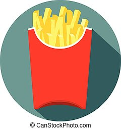 fries in a red box flat design icon