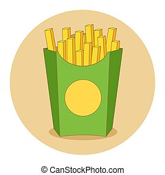 Fries in box vector illustration in flat style.