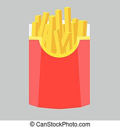 Fries in box. Vector illustration with flat color design.