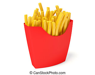 fries; - salty fries in red box on white