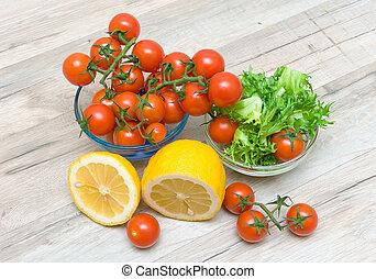 fries, zitrone, reif, salat, tomaten, kirschen