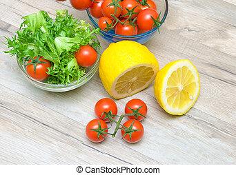 friese, zitrone, kirschen, Tomaten, Kopfsalat