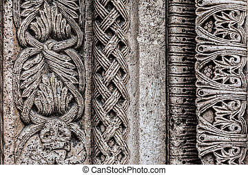Frieze - Architectural details of an antique church located...