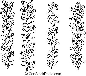frieze - hand drawn, vector, illustration in Ukrainian folk...