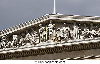 Frieze on the British Museum - Frieze above the entrance of...