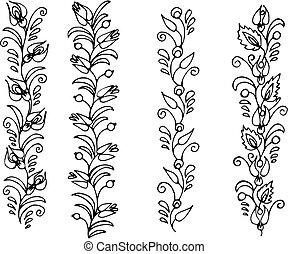 frieze - hand drawn, vector, illustration in Ukrainian folk...