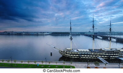 Frigate Grace in St Petersburg - Time lapse shot of the...