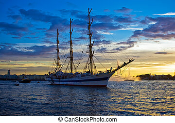 Frigate on Neva river - A sailing ship anchored in Neva...