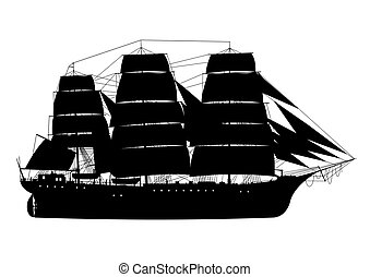 Frigate. Sailing ship. Silhouette of fully rigged ship on a white background. Side view. Flat vector.