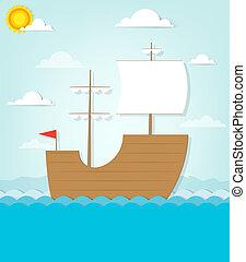 frigate sails on the sea