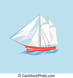 Frigate Ship on the Water. Vector Illustration