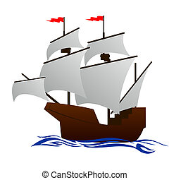 Frigate - Old sailing ship. Illustration on white...