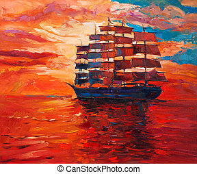 Frigate - Original oil painting of sailing frigate or ship...
