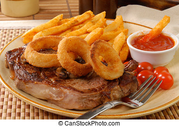 frigge, bistecca, anelli, cipolla