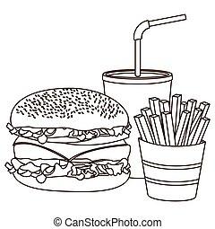 frigge, francese, hamburger, soda, monocromatico, contorno