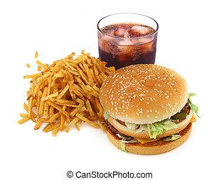 frigge, hamburger, francese, cola