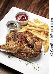 frigge, pasto, pollo rotisserie, francese, arrosto, mezzo, ...