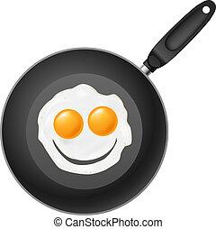 friggendo uovo, pan, sorriso