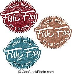 friggere, francobollo, vendemmia, fish