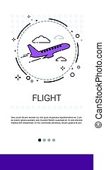 Fright Plane Tickets Online Booking Service Banner Vector...