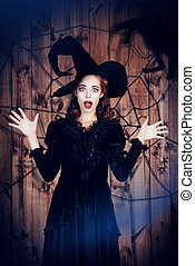 fright - Portrait of a beautiful witch lady in black dress...