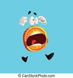 Frightened bitcoin character screaming, funny crypto currency emoticon vector Illustration on a sky blue background