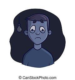Frightened Boy in dark room. Fear of the dark, nightmare....