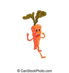 Frightened Carrot, Cute Vegetable Character with Funny Face Vector Illustration