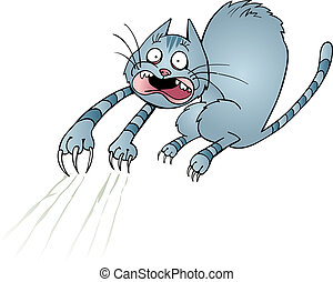 Frightened cat - Illustration of frightened cat scratching...