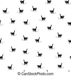 Frightened Cat Seamless. Frightened cartoon black cat seamless. Angry cat seamless