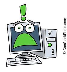 Frightened computer cartoon hand drawn image