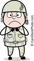 Frightened - Cute Army Man Cartoon Soldier Vector Illustration