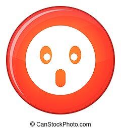 Frightened emoticon, flat style