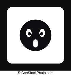 Frightened emoticon icon, simple style