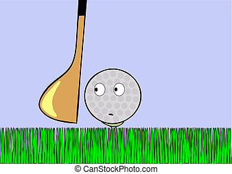 Cartoon illustration - frightened golf ball awaiting stroke