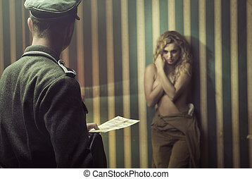 Frightened lady during the interrogation - Frightened woman...