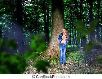 frightened little girl in the woods