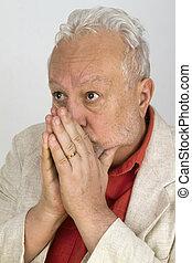 Frightened male senior