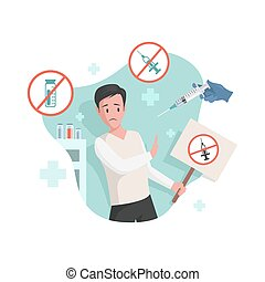 Frightened man afraid of vaccination vector flat illustration. Scared male character against vaccination from different diseases and viruses. Immunity health, anti vaccination agent concept.