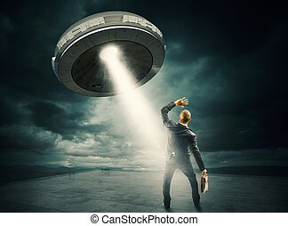 UFO space shuttle - Frightened man by the UFO space shuttle