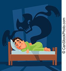 Frightened man character woke up and nightmare ghost. Vector...