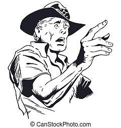 Frightened man pointing finger. Vector illustration.