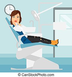 Frightened patient in dental chair. - A frightened woman...