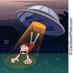 Frightened screaming man character abducted by aliens. Vector flat cartoon illustration