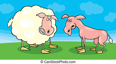 Frightened sheep and shaved one - Illustration of frightened...