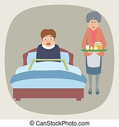 frightened sick person in bed and grandma bringing home remedies - funny cartoon illustration of folk medicine in flat style
