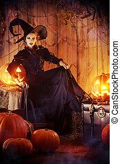 frightening beauty - Fairy witch in black dress in a wooden ...