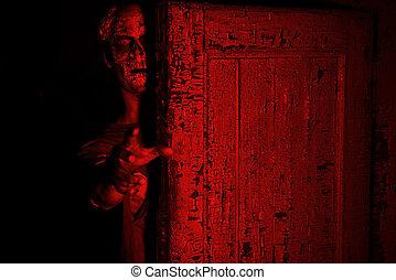 blood-red light