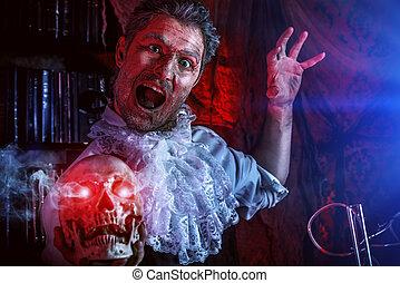 frightening - Crazy old man medieval scientist working in ...