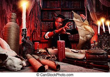 frightening diablo - Horned Devil in his home. Fantasy. ...